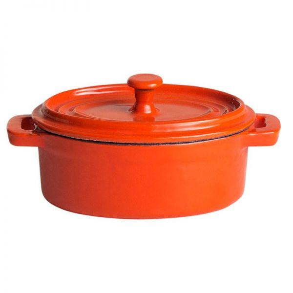 Topf aus Gusseisen ,oval, 12,5 x 9 cm orange / weiß emailliert