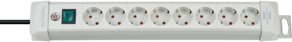 Premium Line Steckdosenleiste 8 fach lichtgrau