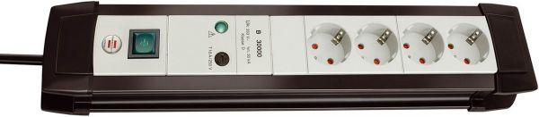 Brennenstuhl Premium Line Überspannungsschutz Steckdosenleiste 4 fach lichtgrau