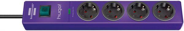 hugo! Überspannungsschutz-Steckdosenleiste 4-fach violett