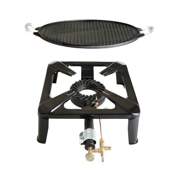 Hockerkocher mit Gusseisengrillplatte light mit Zündsicherung