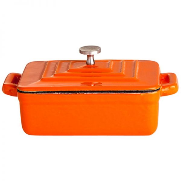 Gusstopf mit Deckel 12 x 9 x 4,5 cm Orange / weiß emailliert