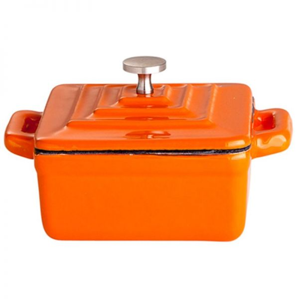 Gusstopf mit Deckel 9,5 x 9,5 x 4,5 cm orange / Weiß emailliert Minigussform Quadrat