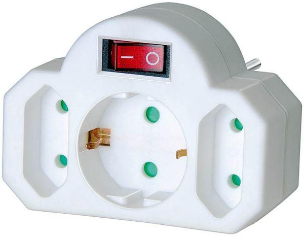 Adapterstecker Euro 2 + Schutzkontak1 mit Schalter