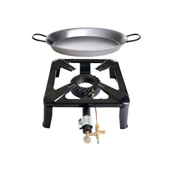 Hockerkocher- Set mit Paella Pfanne Stahl 42 cm mit Zündsicherung