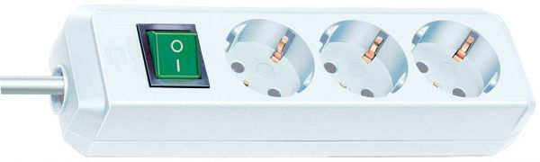 Eco Line Steckdosenleiste mit Schalter 3 fach weiß