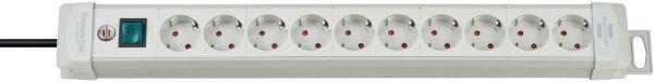 Premium Line Steckdosenleiste 10 fach lichtgrau