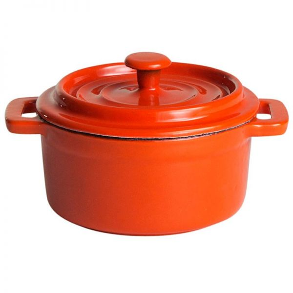 Gusstopf mit Deckel rund 10 x 5 cm orange / weiß emailliert
