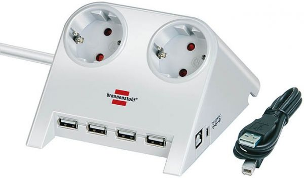 Desktop Power mit Schalter und USB Hub 2.0 2 fach weiß