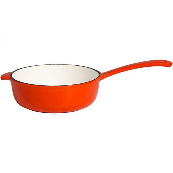 Milchpfanne/ Topf aus Gusseisen 23 cm orange /weiß emailliert