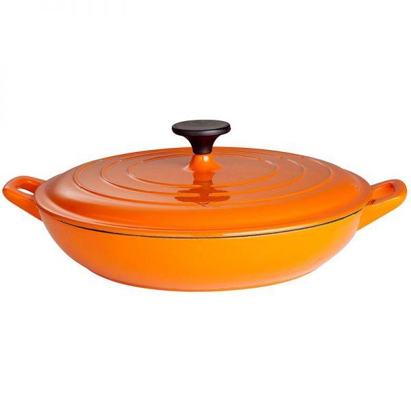 Gusstopf mit Deckel flach 32 x 6 cm orange / weiß emailliert