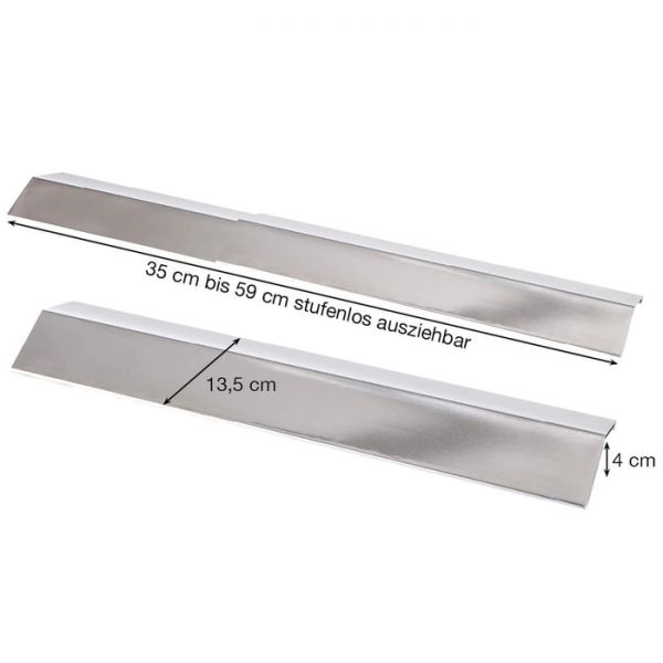 Edelstahl Flammblech breit, variabel 35-60 cm/13,5 cm
