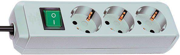 Eco Line Steckdosenleiste mit Schalter 3 fach lichtgrau