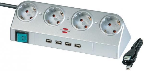 Desktop Power mit Schalter und USB Hub 2.0 4 fach silber
