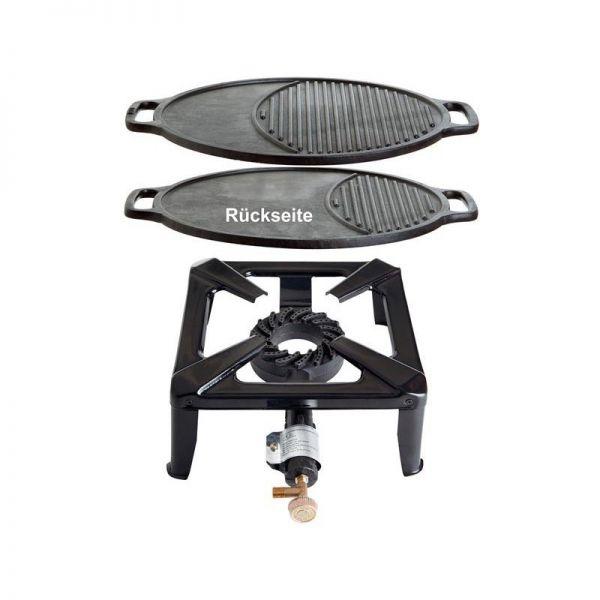 Hockerkocher mit Gusseisengrillplatte variabel 45 cm ohne Zündsicherung
