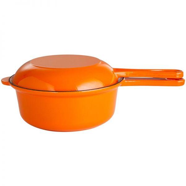 Gusstopf Pfannenkombination mit Stiel und Topfdeckel 22 cm orange / weiß emailliert
