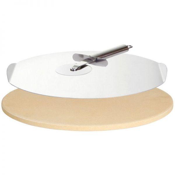 Pizzastein Set 33 cm mit Blech und Pizzaschneider