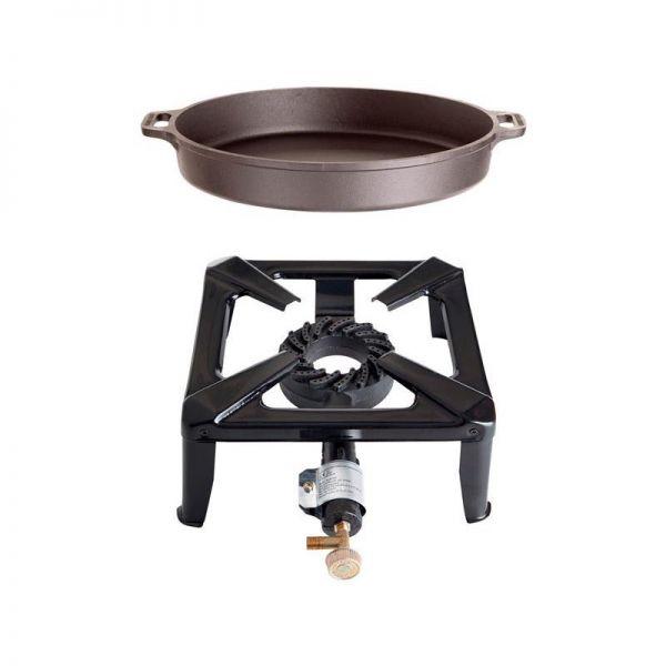 Hockerkocher mit Gusseisenpfanne 40cm ohne Zündsicherung