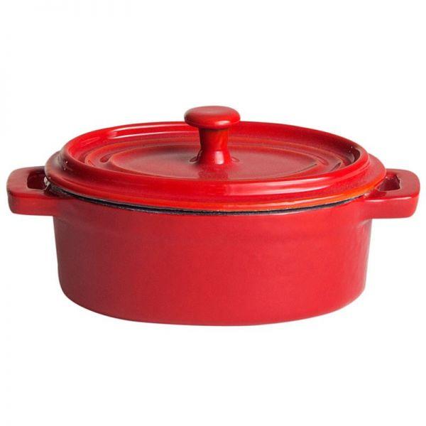 Top aus Gusseisen oval 12,5 x 9 cm rot / weiß emailliert