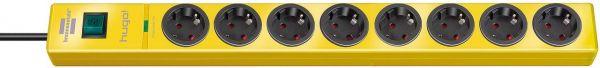 hugo! Überspannungsschutz-Steckdosenleiste 8- fach gelb