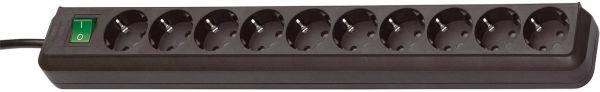 Eco Line Steckdosenleiste mit Schalter 10 fach schwarz
