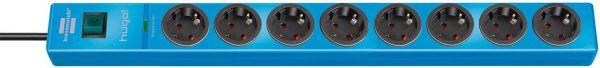 hugo! Überspannungsschutz-Steckdosenleiste 8- fach blau