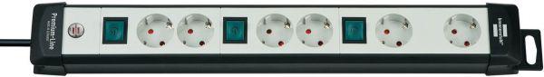 Premium Line Technik Steckdosenleiste 6 fach 2 fach schaltbar für netzgeräte