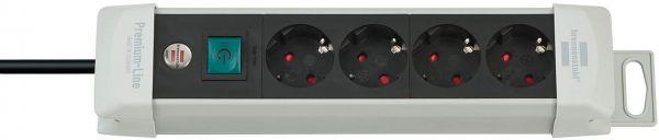Premium Line Steckdosenleiste 4 fach lichtgrau/ schwarz