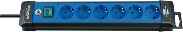 Premium Line Steckdosenleiste 6 fach schwarz/ blau